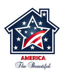 Logo patriotic american house vector