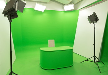Green screen chroma key background modern tv studio setup