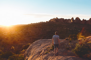 USA, Utah, Moab, Man looking at view in Arches National Park
