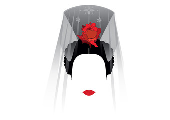 Portrait of latin woman or traditional representation of modern Spanish, Spanish veiled by the name of Mantilla, flamenco dancer, vector illustration, transparent background