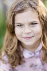 Sweden, Vastmanland, Hallefors, Bergslagen, Portrait of smiling girl ( 8-9)