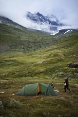Norway, Men camping by Jotunheimen range
