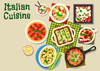 Italian cuisine icon with pasta and lasagna