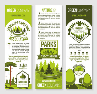 Landscape gardening and eco park banner template