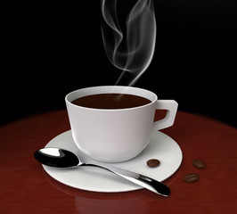 hot black coffee with smoke on wooden table 3D rendering