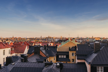 Sweden, Stockholm, Ostermalm, Cityscape seen from above rooftops