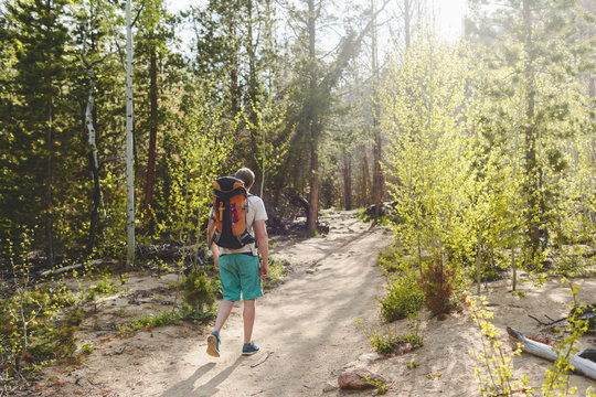 USA, Colorado, Rocky Mountain National Park, Young man hiking in forest