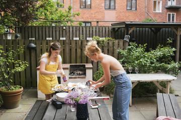 Sweden, Young women preparing food
