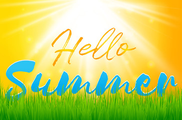Hello Summer Holiday background with green grass. Vector background for banner,poster,flyer