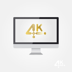 4K Ultra HD golden vector icon on the monitor screen. Flat vector illustration EPS10