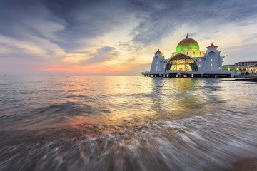 Malacca Straits Mosque ( Masjid Selat Melaka), It is a mosque located on the man-made Malacca Island near Malacca Town, Malaysia.