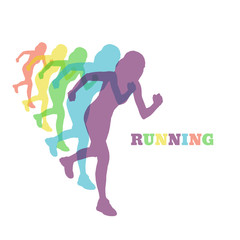 running woman silhouette color vector eps 10