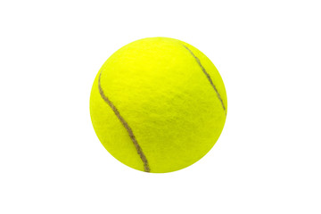 Tennis ball on white background. Isolated tennis ball. Yellow felt ball with brown curve line.