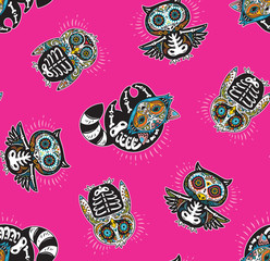 Seamless pattern with mexican skulls
