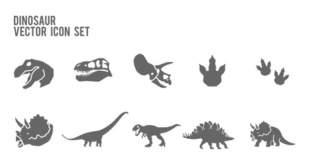 Dinosaur Skeleton Fossil Vector Icon Set