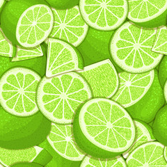 Ripe juicy tropical lime seamless pattern. Vector card illustration.
