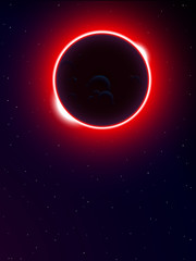 solar eclipse in universe background