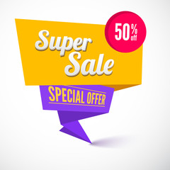 Super sale origami banner. Great background for your promotional posters, advertising shopping flyers, brochure or booklet and discount banners. speech bubble