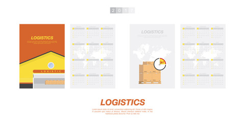 Calendar for 2017 Year on transportation on the theme of logistics and freight. Week starts monday. Vector template for business graphics.