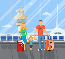 family on the airport.