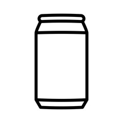 Aluminum soda or beer can line art vector icon for apps and websites