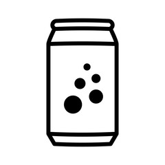 Soda pop / soft drink or beer can line art vector icon for apps and websites