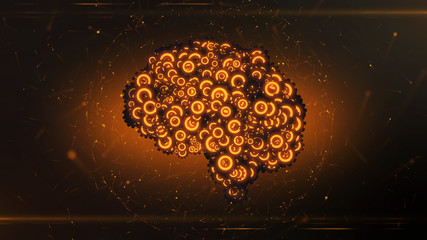 Glowing orange mechanical clockwork brain illustrating artificial intelligence - 3D render