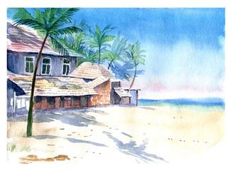 Palm trees, sea, landscape, watercolor