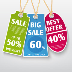 Price tags, stickers, sale labels with discount offers vector templates