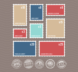 Blank postage stamps in different sizes and vintage postmarks vector set