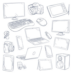 Hand drawn, sketch computer technology gadgets vector set
