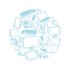 Television, video and computer device, electronic gadget hand drawn vector illustration