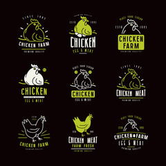 Chicken farm labels and emblems