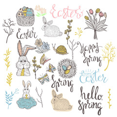 Easter set with easter eggs,bunny,flowers, butterflies,snail,tulips and lettering hand drawn on white background. Stock vector..