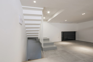 White empty room(space) with stair, white wall