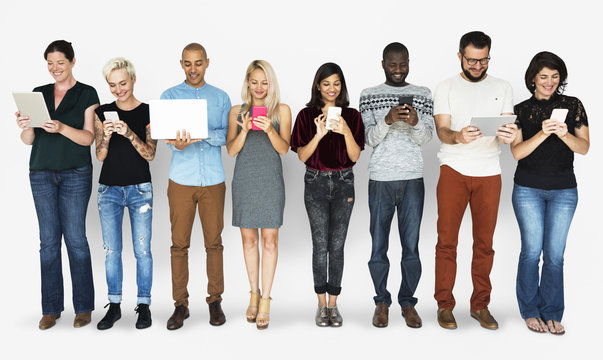 Group of Diverse People Using Digital Devices