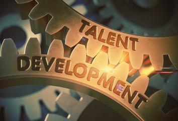 Golden Metallic Cogwheels with Talent Development Concept. Talent Development on the Golden Cog Gears. 3D Rendering.