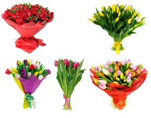set Bouquet of tulips isolated on white