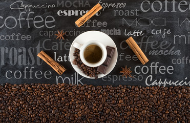 Background of cup coffee beans with cinnamon and anise
