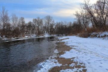 Podkumok river in the winter. Georgievsk, Stavropol Region, Russia