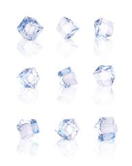 Set of nine transparent ice cubes