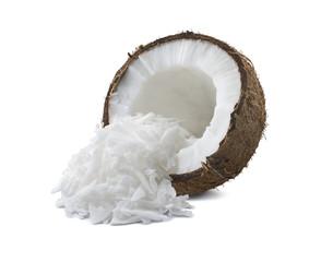 Coconut broken half shredded isolated on white background