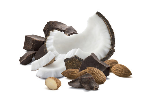 Chocolate coconut almond isolated on white background