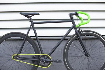 Fixie bike on urban background. Fixed bike.
