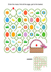 Easter egg hunt themed maze game with basket, painted eggs, fresh green grass, flowers. Answer included.