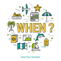 Soon your vacation - round line concept
