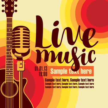 vector music poster for a concert live music with the image of a guitar and microphone on the colored background
