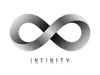 Stippled Infinity sign. Mobius strip symbol. Vector illustration.