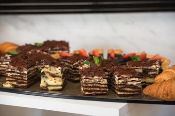 Delicious sweet chocolate cake. cuisine dessert.