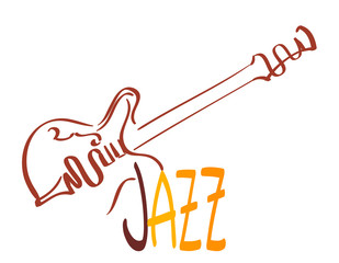 vintage guitar and jazz music sign. vector illustration